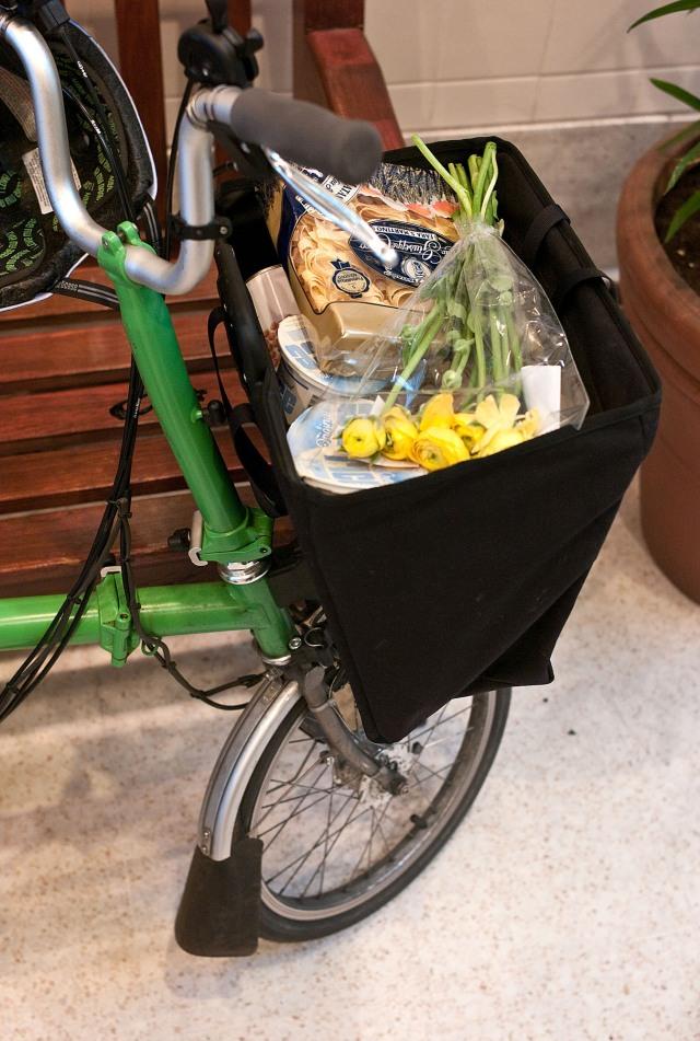 The folding basket, fully loaded